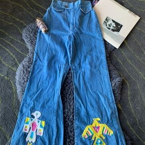 Custom Vintage Bell Bottom Jeans Boho Hippie Gypsy